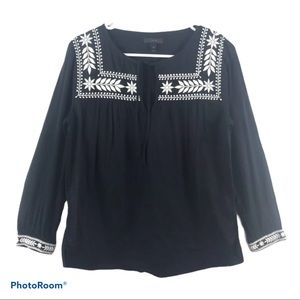 J. Crew Black Embroidered Tunic Cotton Flowy